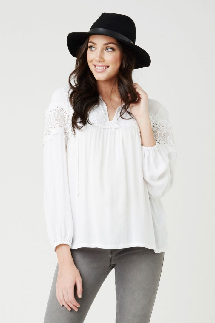 Maternity tunic with floral lace