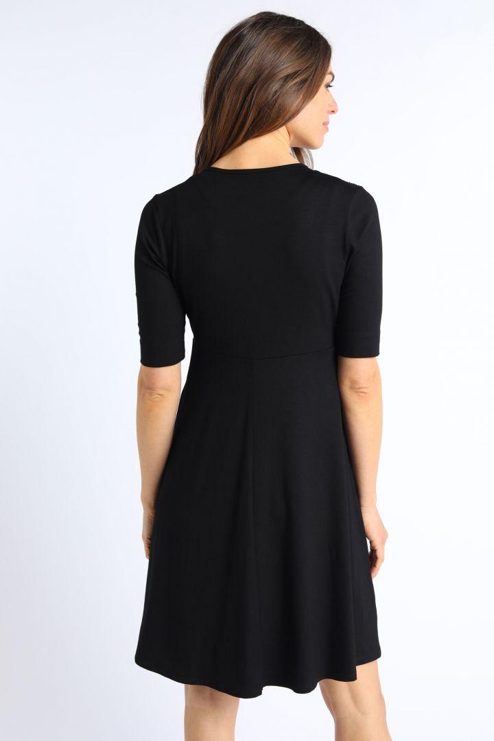 Ecovero Umstands- und Stillkleid mit Post Partum Shaping Top schwarz