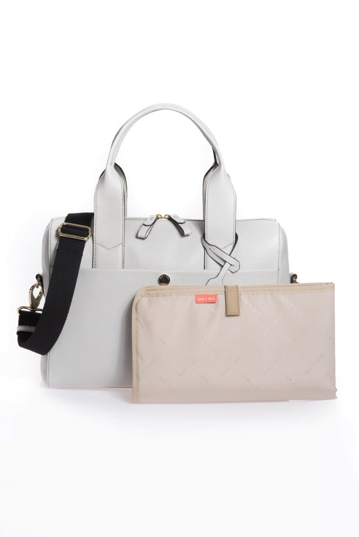 Diaper bag made of leather, grey