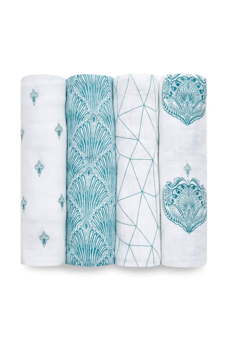 Swaddling and Burp Cloth 4 Pack Paisley