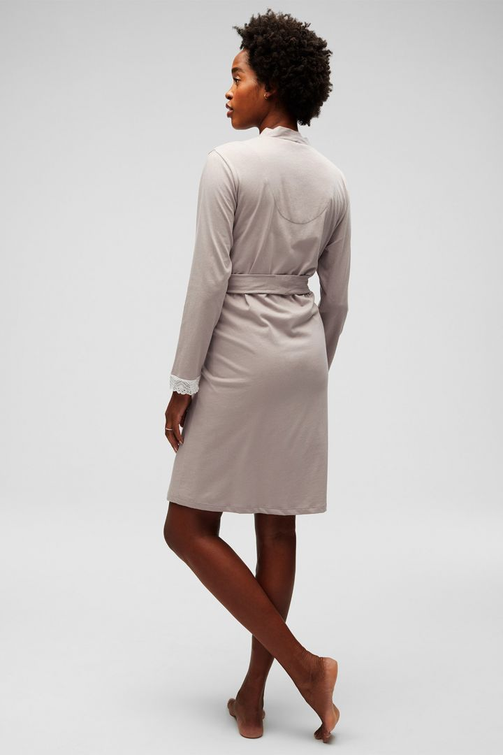 Long Sleeve Maternity Dressing Gown with Belt