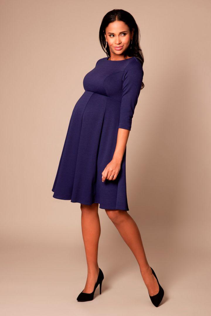 Maternity dress with submarine neckline navy