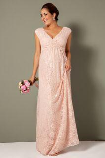 Spitzen Umstandskleid mit Cache Coeur Ausschnitt lang rosa
