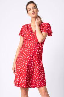 Umstands- und Stillwickelkleid mit Blumenprint rot