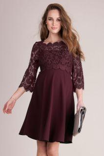 Umstands- und Stillkleid mit Spitzenbustier burgund