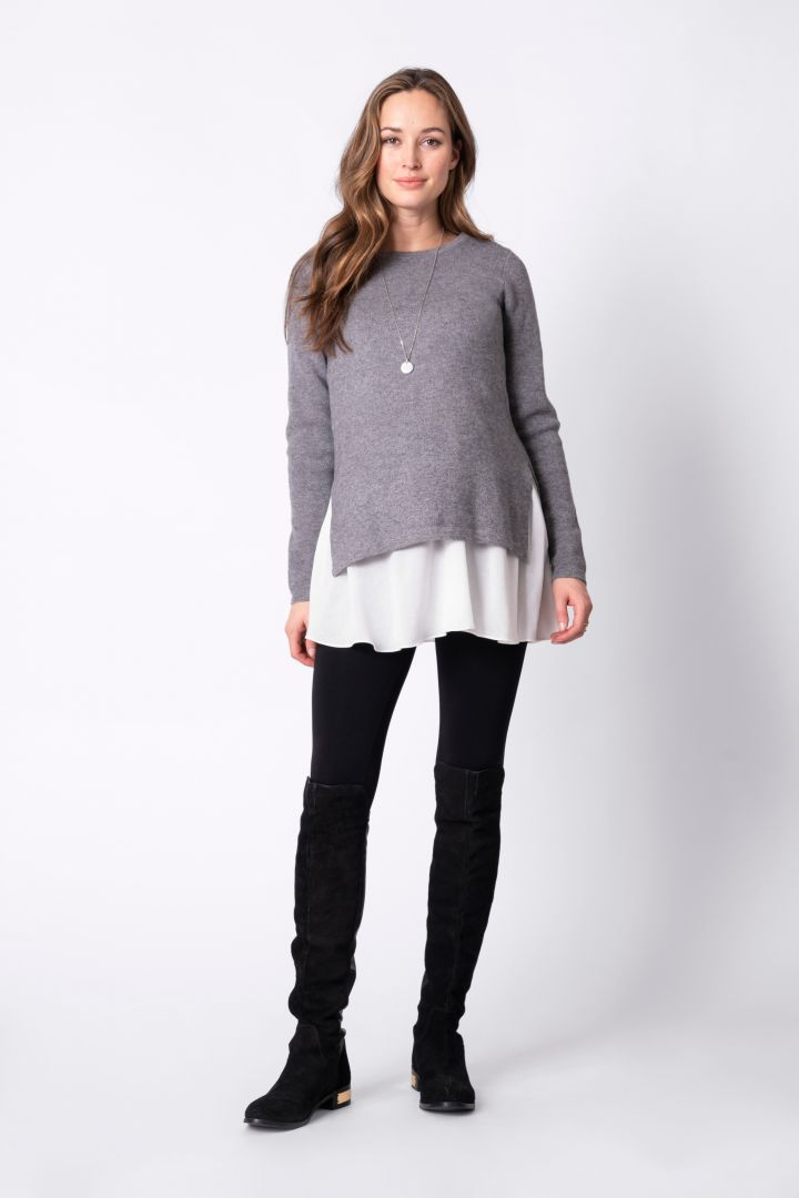 Layered Matnerity and Nursing Knit Jumper grey/white