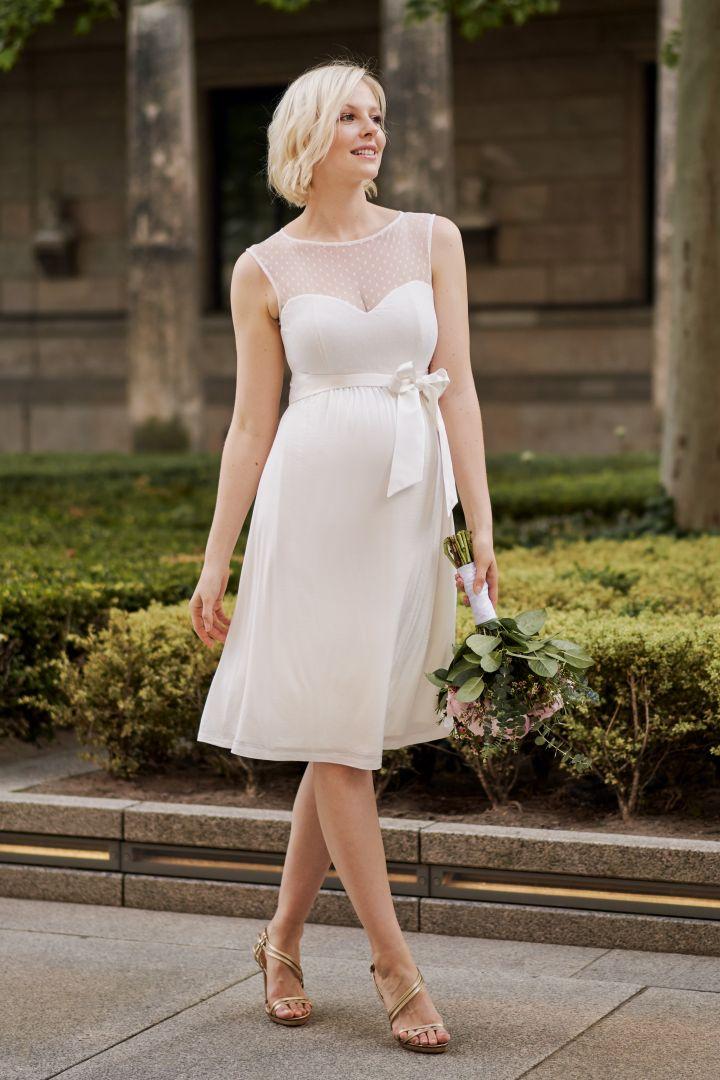 Maternity Wedding Dress with Dotty Lace