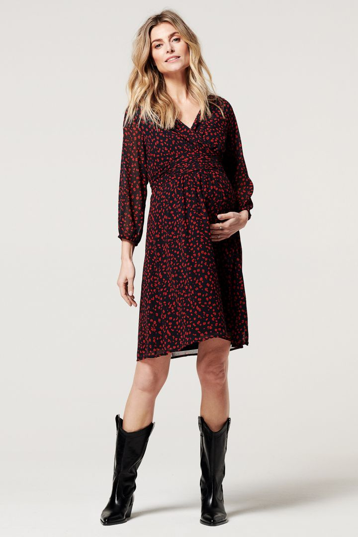 Chiffon Maternity and Nursing Dress with Cache Coeur Neck