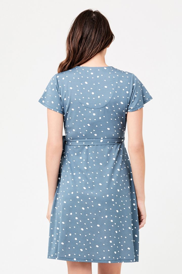 Maternity and Nursing Wrap Dress with Polka Dots blue
