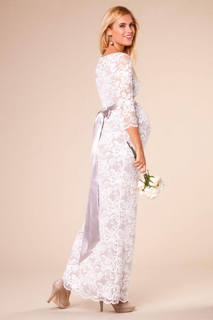 Long lace maternity wedding dress