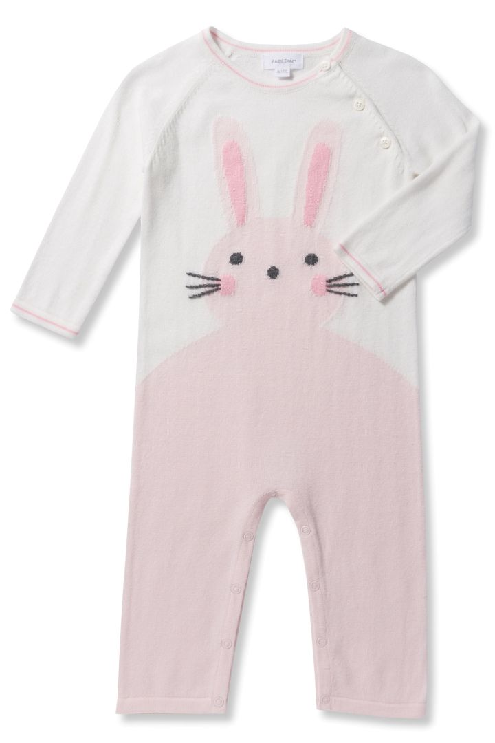 Knitted bunny romper pink