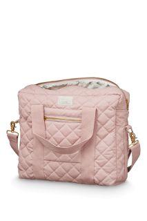 Gesteppte Wickeltasche aus Bio-Baumwolle rose