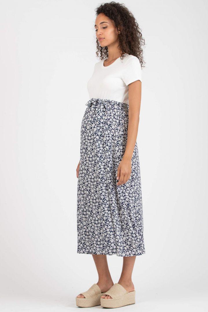 Umstandskleid mit Jerseytop und Blumenrock blau