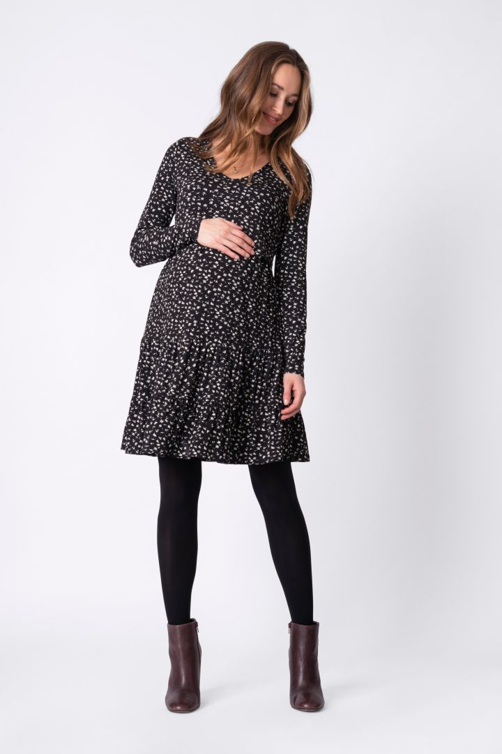 Maternity and Nursing Tiered Dress with Flower-Print black