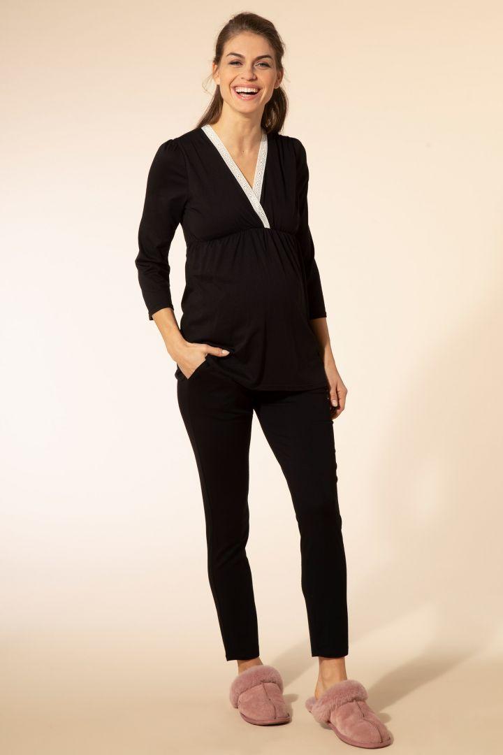 Umstands- und Stillpyjama mit Spitze schwarz