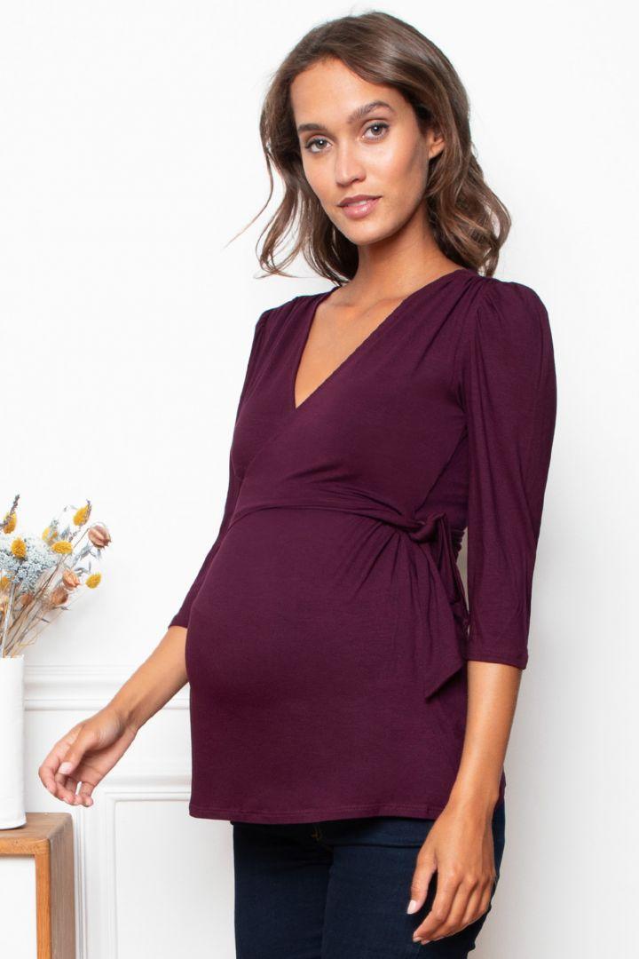 Mock Wrap Maternity and Nursing Shirt bordeaux