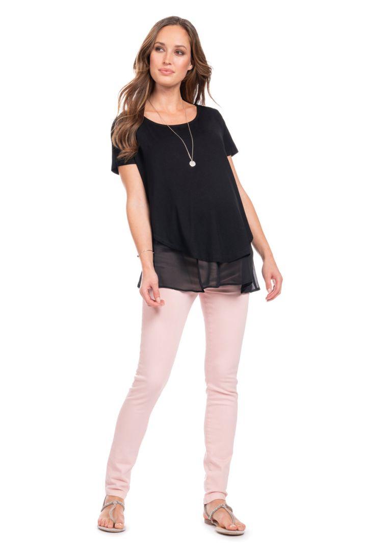 Double-Layered Maternity and Nursing Shirt, black