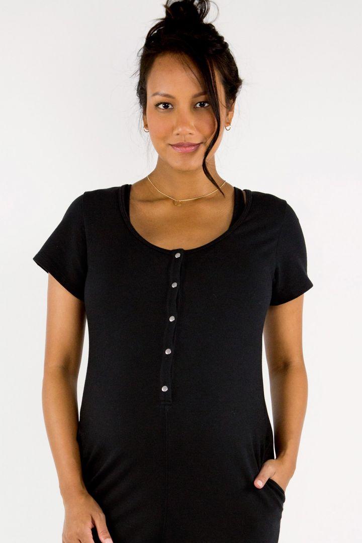 Short Sleeve Henley Romper black
