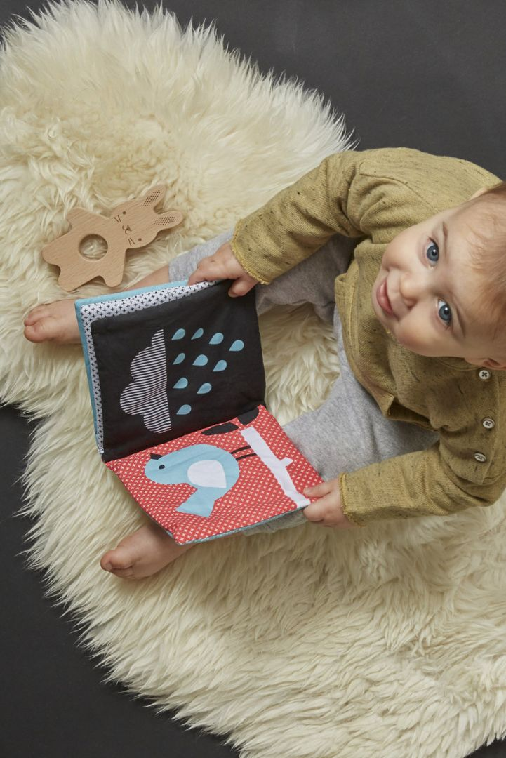 Organic cotton playbook with wooden rabbit teething ring