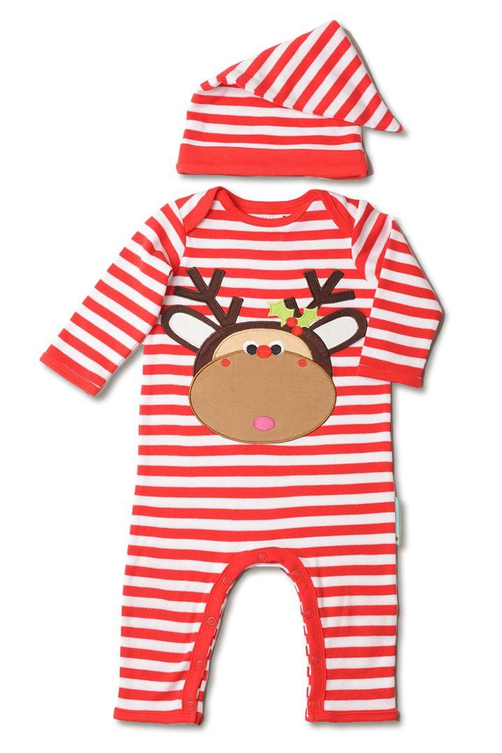 Weihnachtsstrampler rot/weiß