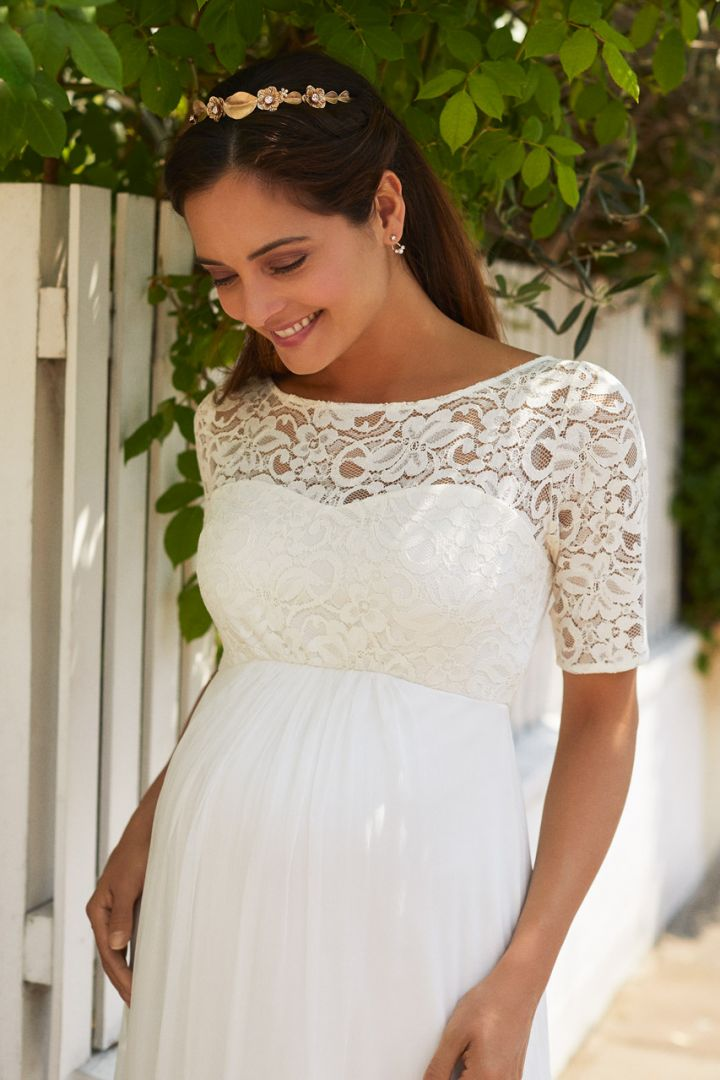 Maternity Bridal Gown with Long Silk Skirt
