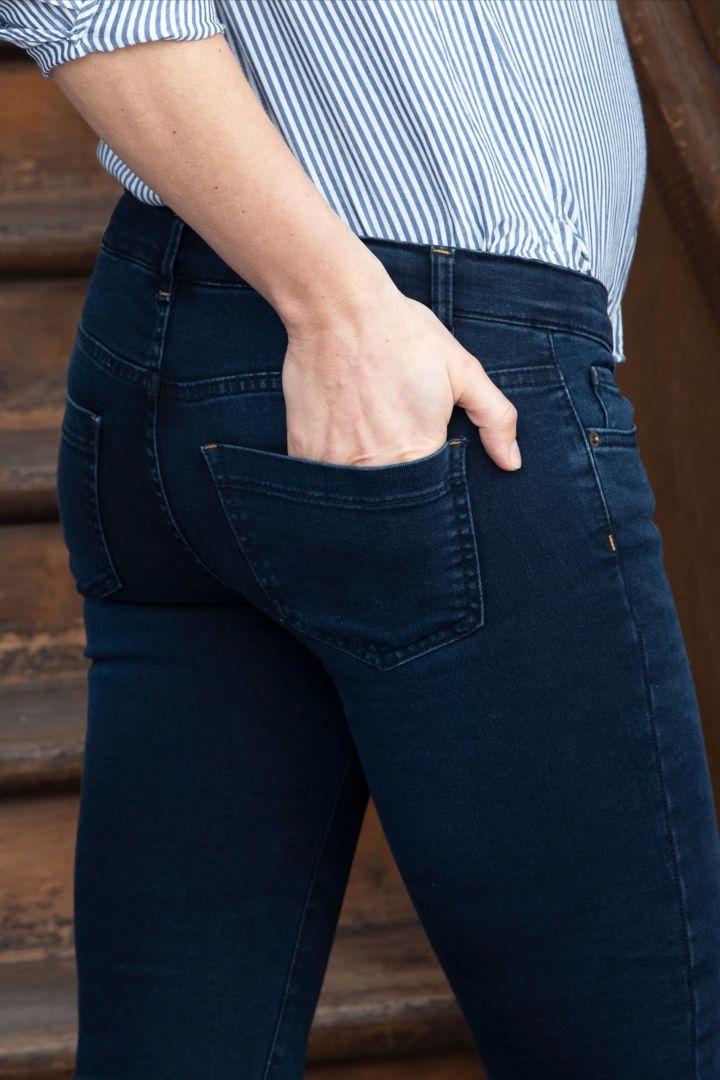 Slim Fit Umstandsjeans mit abnehmbarem Seamless Bauchband denim