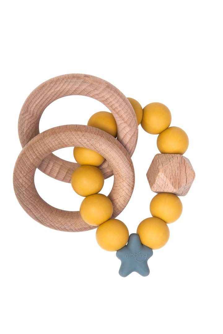 Holz-Greifling und Beißring Stellar gelb