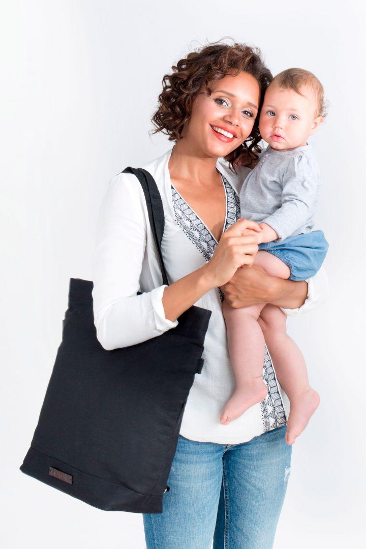 2 in 1 Wickeltasche und Rucksack schwarz