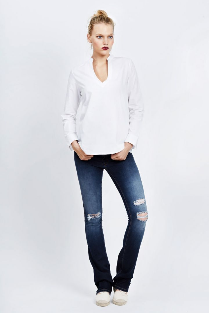 Bootcut ripped maternity jeans