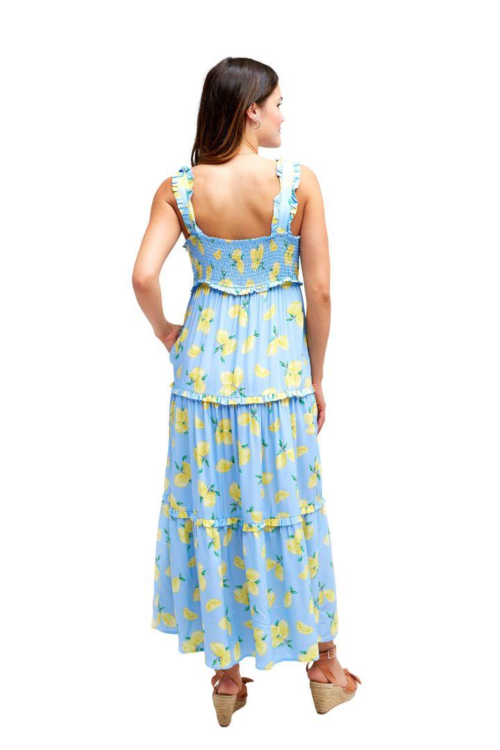 Maternity and Nursing Dress with Ruffles and Lemon Print