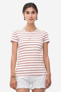 Streifen Umstands- und Stillshirt aus Biobaumwolle rot