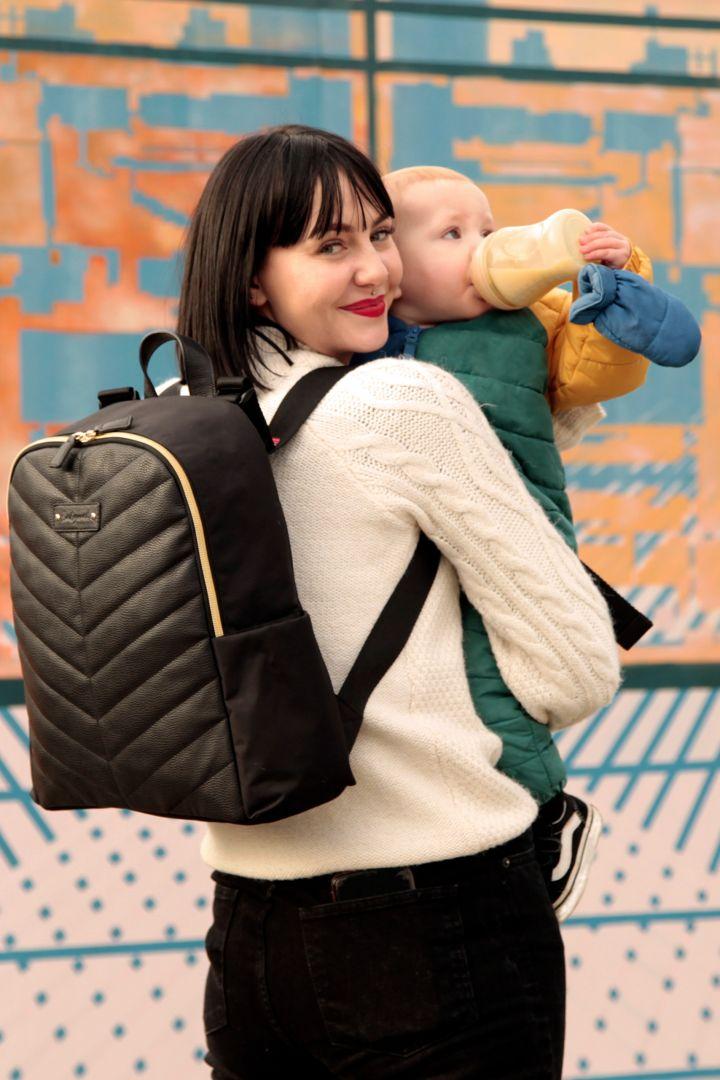 Babymel Wickelrucksack mit Kunstledereinsatz schwarz