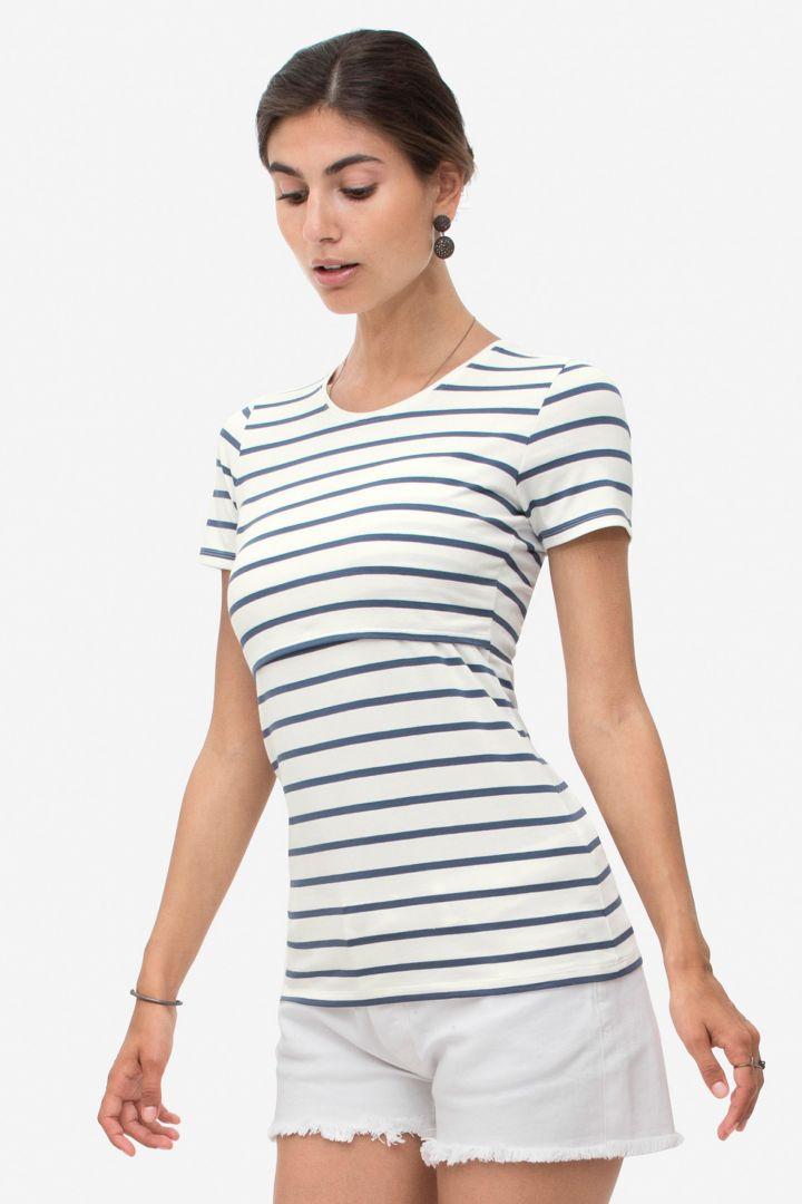 Streifen Umstands- und Stillshirt aus Bio-Baumwolle blau/weiß