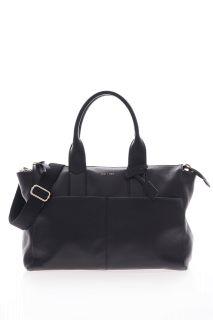 Luxe Wickeltasche aus Kalbsleder schwarz