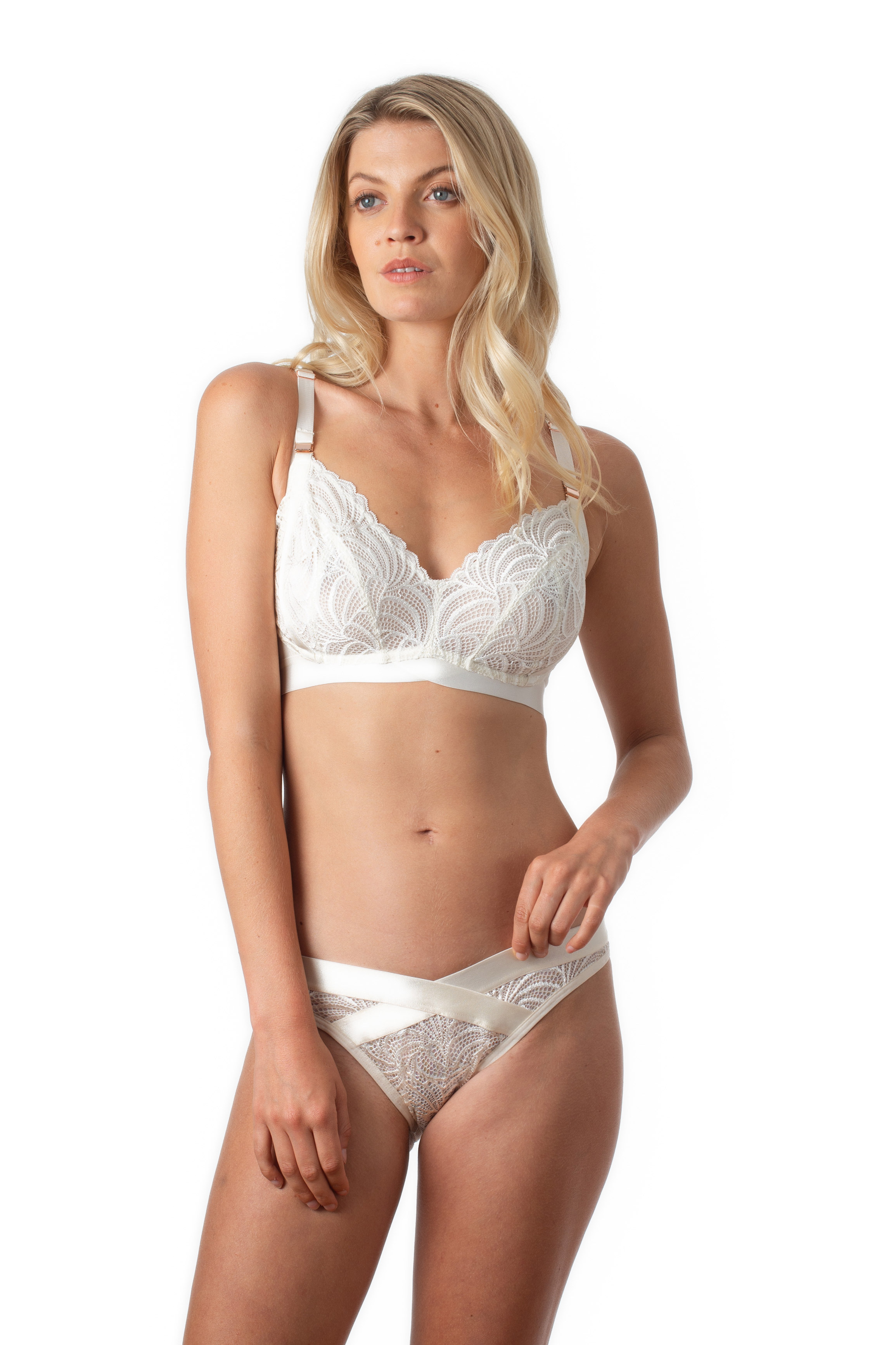 No Underwire and Seamless Mamma Mia PA0862 Cotton and Elegant Lace Nursing Bra Made in Italy Back Tank Top Maternity Bra with Unpadded Preformed Cups