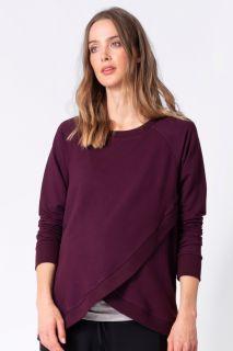 Cross-Over Umstands- und Still-Sweater burgund