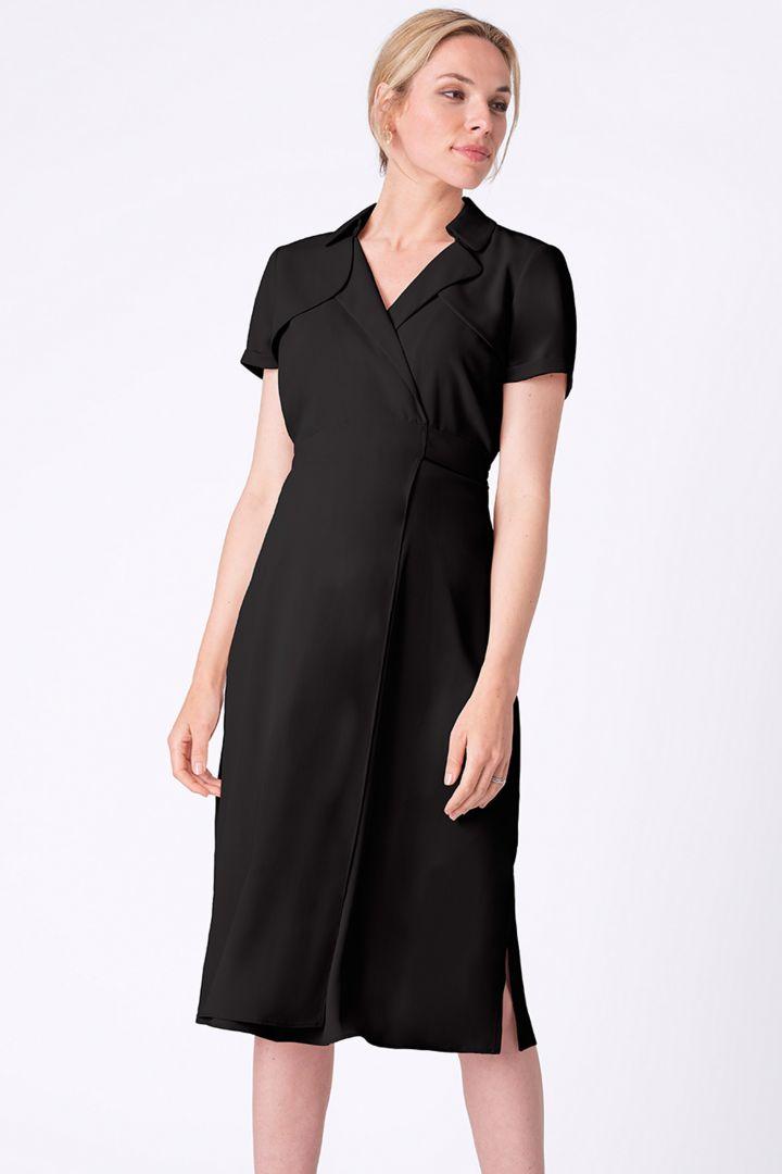 Fluid Trench Maternity Dress, schwarz