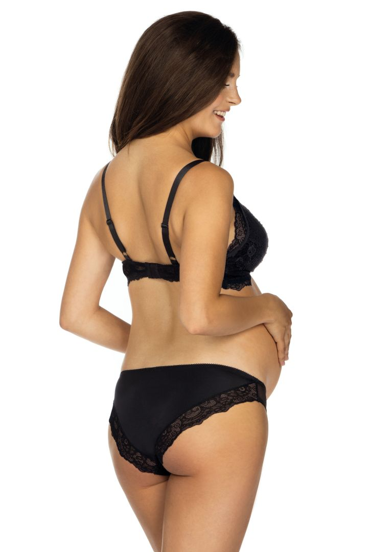 Maternity and Nursing Bra with Lace black