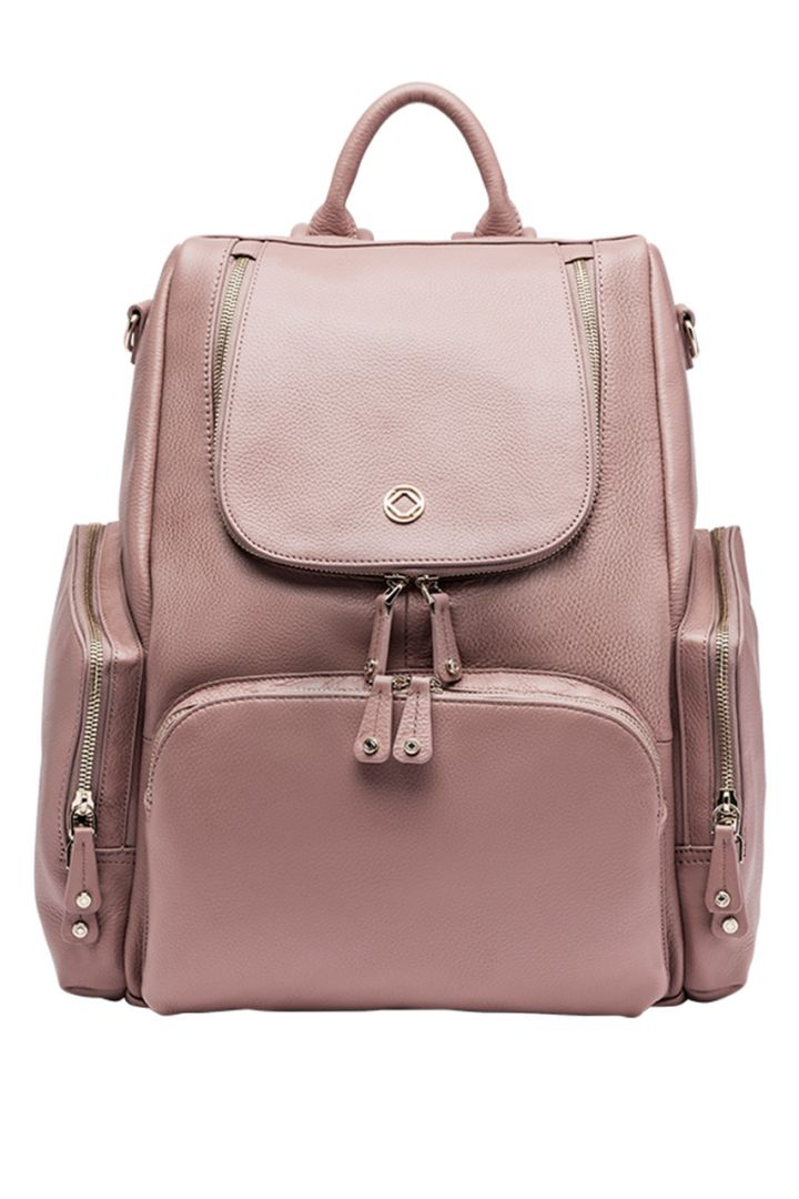 Leather changing backpack rose