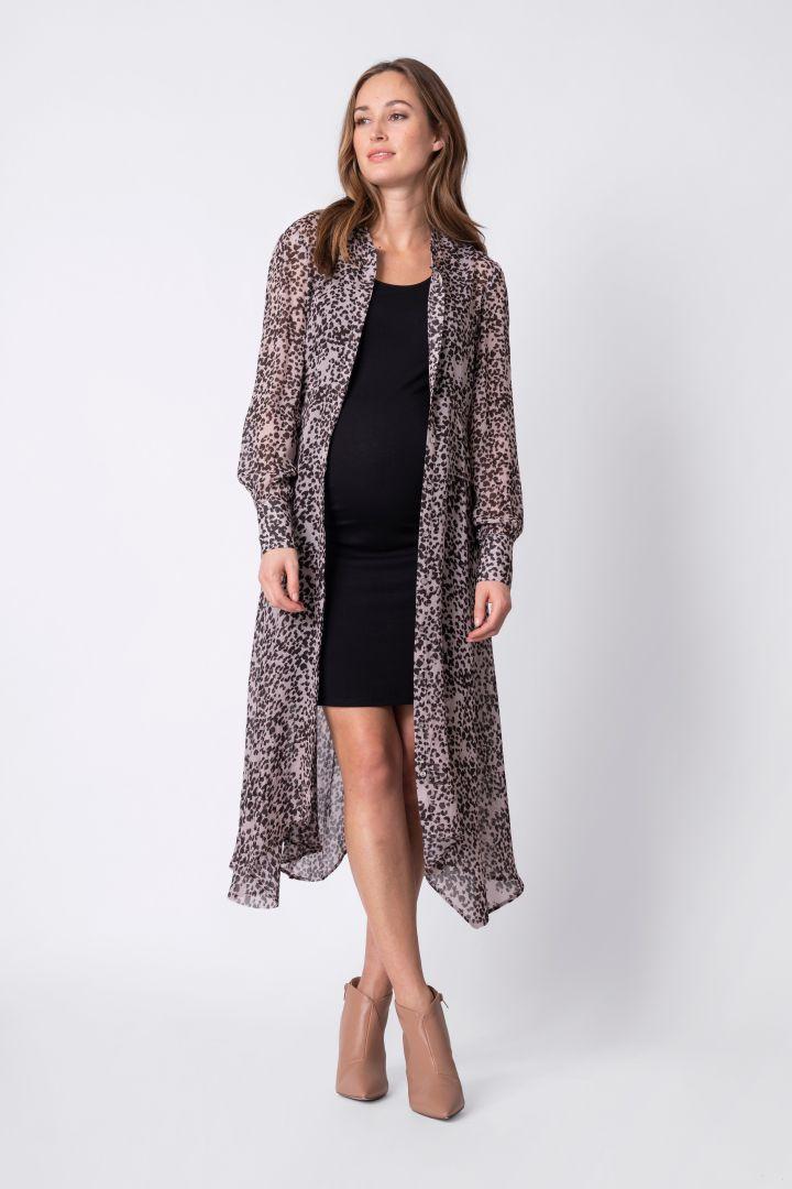 3 in 1 Maternity Hem Shirt Dress Leopard