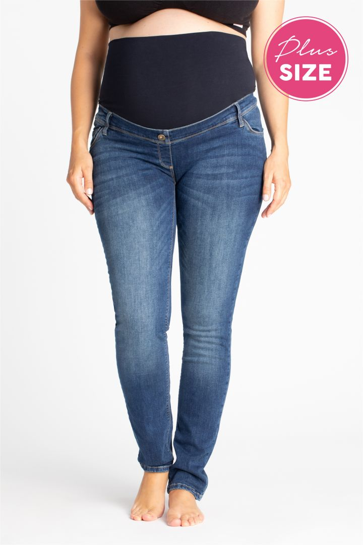 Plus Size Maternity Jeans stone washed