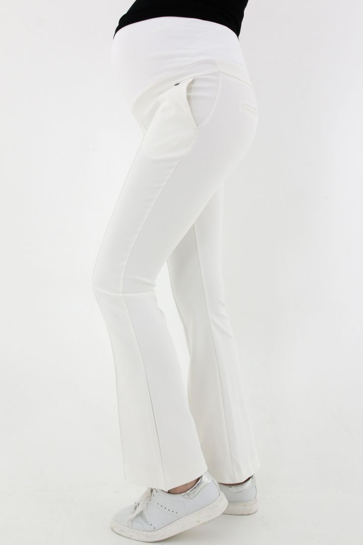 Flared Maternity Trousers white