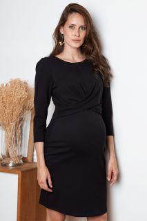Umstandskleid mit Twistdetail schwarz