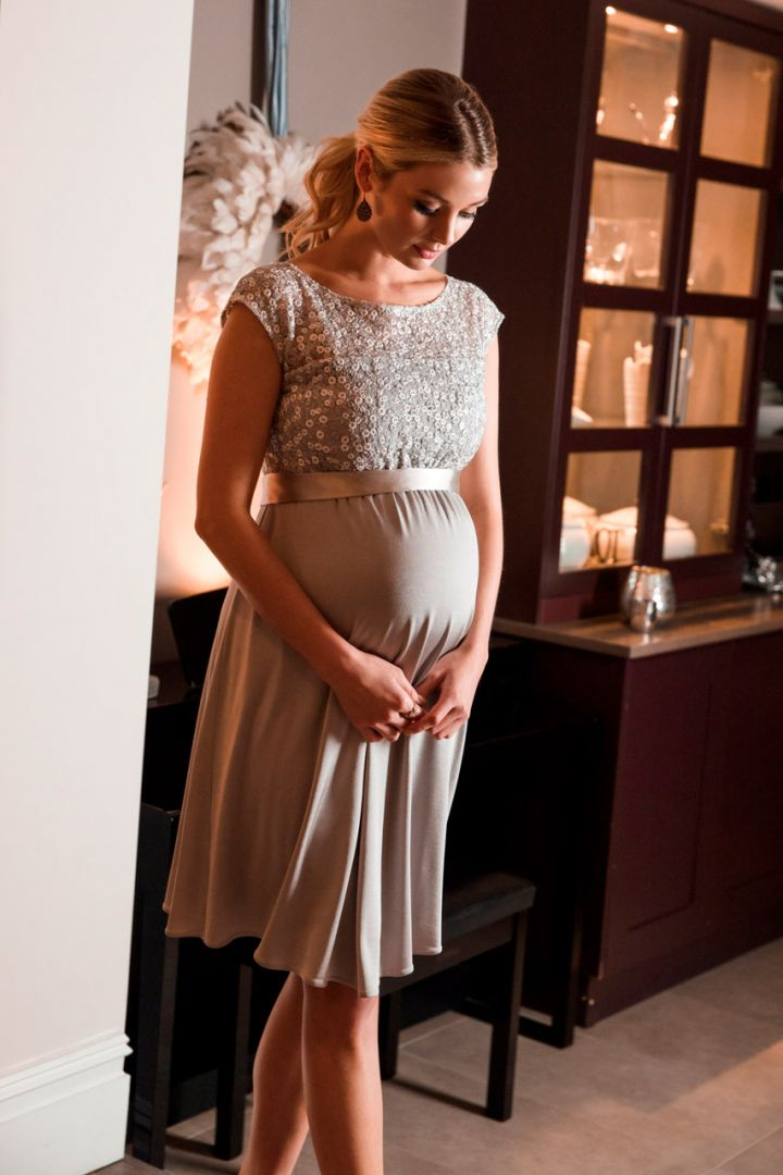 Festive Maternity dress with sequined top
