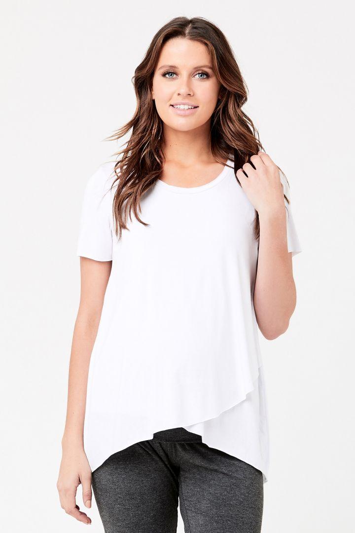 Maternity and Nursing Shirt Raw Edge white