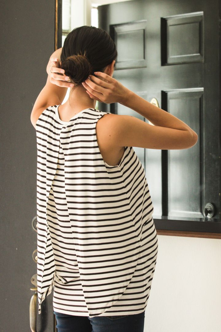 Layered Maternity and Nursing Top Stripes white/black