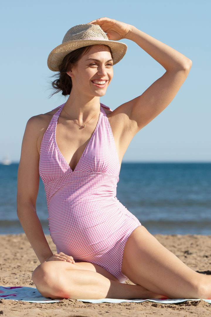 Vichy maternity swimsuit light pink