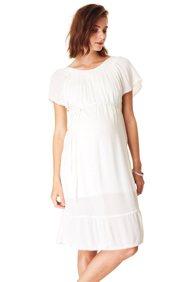Maternity dress with flounce, white