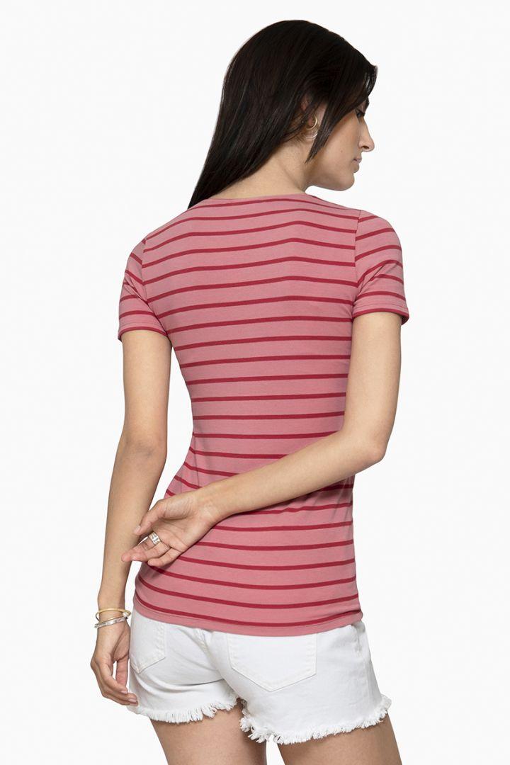 Streifen Umstands- und Stillshirt aus Bio-Baumwolle rosa/rot