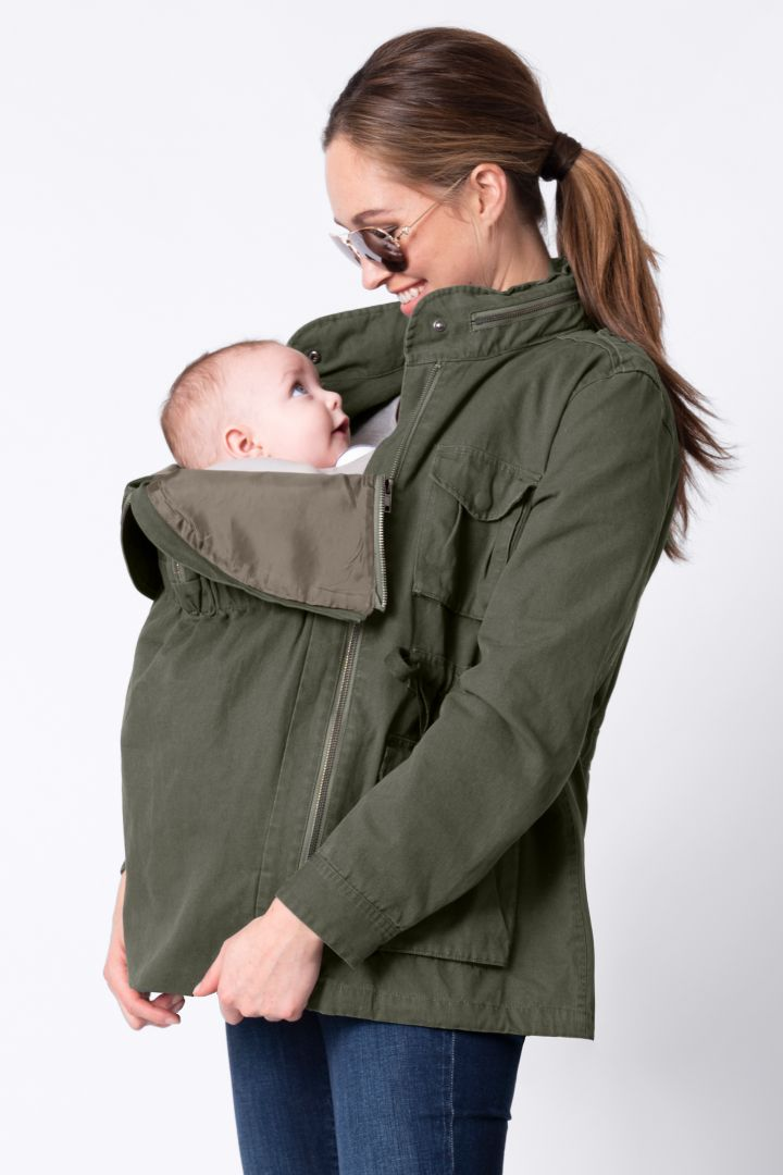 3 in 1 Maternity Jacket with Baby Carrier Insert khaki